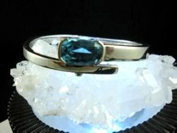 09-00126 Blue Topaz Faceted  Sterling Cuff Bracelet