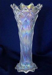 """Lined Lattice 9"""" vase, white"""