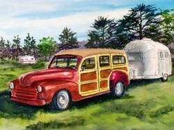 Woodie with Air Stream Trailer
