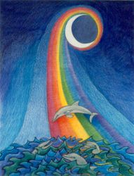 Dolphin New Moon, 11x14, Watercolor and Colored Pencil, Carrie MaKenna 1999