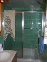 Before: Tub with green tile walls.