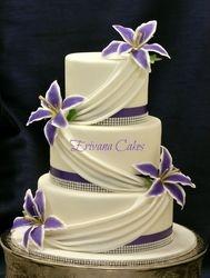 Purple and white wedding cake 3