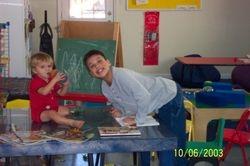 Busy at preschool, with a helper