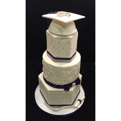 Purple and White Prairie View Graduation Cake