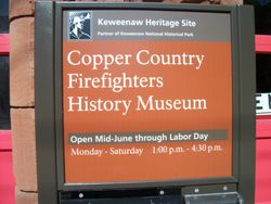 Sign at Historic Fire Hall.