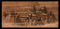 Aisan temple, snow and the Seven, canvas