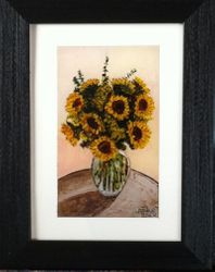 Reverse art Sunflowers
