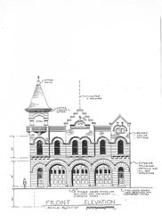 Copy of original blue print for the Fire Station.