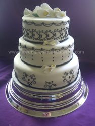3 tier Black and White Wedding Cake with Lillies