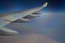 Emirate Airlines over Dubai Coast