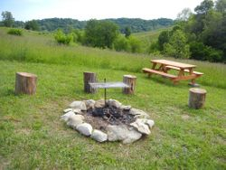 Fire pit, grill, picnic table