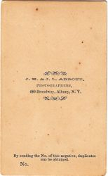 J. H. & J. L. Abbott, photographers of Albany, NY - back