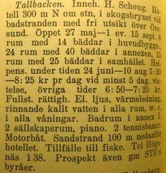 Hotell Tallbacken 1941