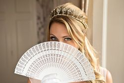 Art deco tiara and fretwork fan