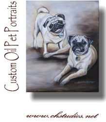 Pug Oil Painting Commission
