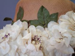 Vintage Tan Straw with White Flowers CloseUp