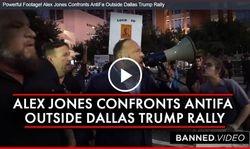 Powerful Footage! Alex Jones Confronts AntiFa Outside Dallas Trump Rally