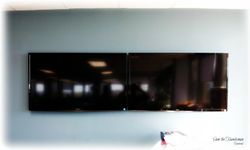 "2 x 50"" flat screen TV wall mount installation"