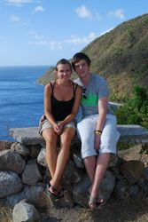 Becky and Jono at a viewing point on the coast road