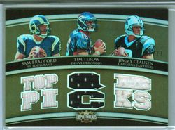 2010 Triple Threads JERSEY TIM TEBOW, JIMMY CLAUSEN, SAM BRADFORD #8/27 1/1