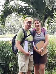JB Leca and Noëlle Gunst taking a break from interviewing visitors for the community-based conservation project (Grand Etang National Park, Grenada, January 2020)