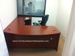 Bush L shaped office desk installation service in rockville MD