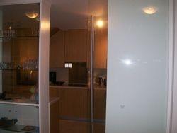 Glass door to kitchen
