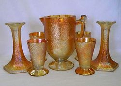 Crackle waterset and candlesticks, marigold, Jeannette