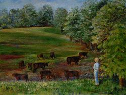 Girl and Her Cows