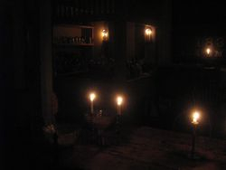 Kitchen by candle light