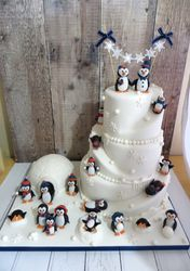 Penguin themed Wedding Cake