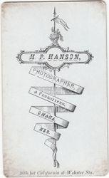 H. P. Hanson, photographer of Omaha, NE - back