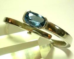 09-00126c Blue Topaz Faceted  Sterling Cuff Bracelet