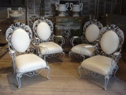 #15/318 Set of 4 Metal Salon Suite Chairs 2 SOLD