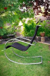 Side View of Black Shaker Tape Rocking Chair