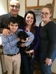 Pink with her new family.  6 weeks.
