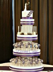Purple and White Wedding Cake Pop Tower