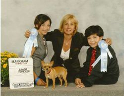 Jesse and Megan winning First place in Junior Handling