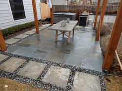 Bluestone Patio with Mexican beach pebbles