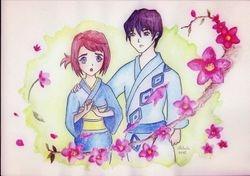 Mai and Reito (Festival kimono) by realm-of-lost-minds