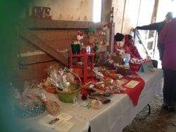 Caroling with the donkeys craft and bake sale table