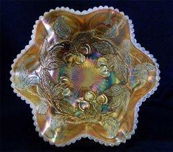 Dugan Cherries 6 ruffled bowl, peach opal