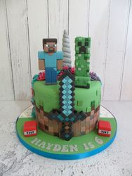 Half and half Unicorn and Minecraft Cake