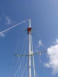Ann up the mast to take photos