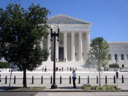 Close-Up of West Façade of US Supreme Court Building from West During Lying in Repose of Associate Supreme Court Justice Ruth Bader Ginsburg