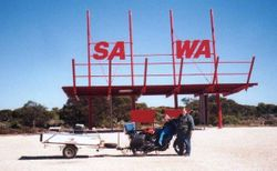 Tom's K75RT & Camper Trailer at the SA/WA Border on the way to the 1998 AGM Bunbury - Mar 1998