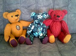 Three teddies from clothing in memory of a dad.