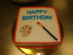 15 serving fondant covered painting cake $65