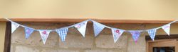 Light Blue 'Tea Shop' with vintage embroidery ~ 10 flags