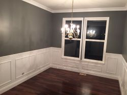 crown moldings and wall.